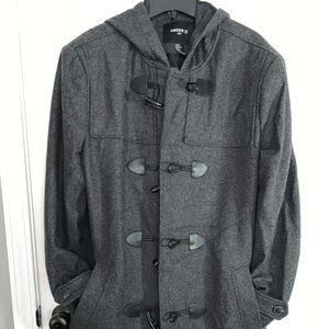 Men's Large Forever 21 Gray Hooded Trench Coat